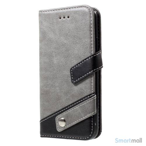 Lichi Grain læderpung m/kortholder & standfunktion til iPhone X/10 - Grå
