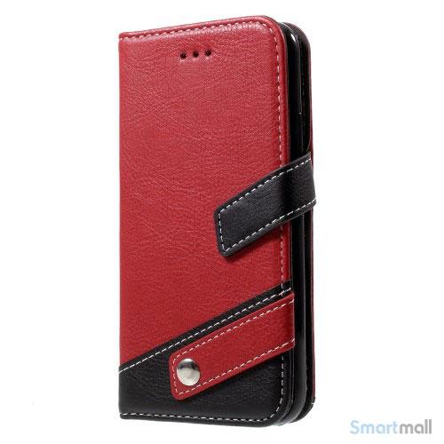 Lichi Grain læderpung m/kortholder & standfunktion til iPhone X/10 - Rød