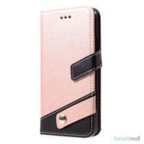 Lichi Grain læderpung m/kortholder & standfunktion til iPhone X/10 - Rose Guld
