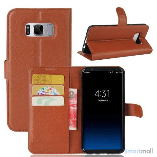 Lychee cover-pung m/kreditkortholder i pink til Samsung Galaxy S8 - Brun