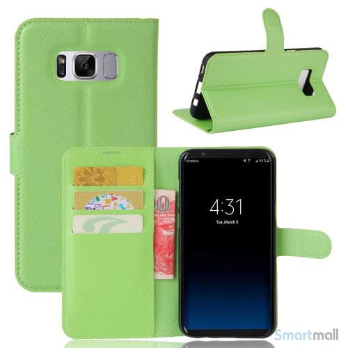 Lychee cover-pung m/kreditkortholder i pink til Samsung Galaxy S8 - Grøn