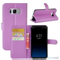 Lychee cover-pung m/kreditkortholder i pink til Samsung Galaxy S8 - Lilla