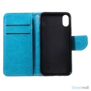Praktisk iPhone X/10 læderpung m/magnetluk til iPhone X/10 - Blå