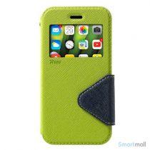 Flip-cover fra ROAR KOREA med vindue & kortholder til iPhone X / 10 - Grøn