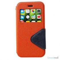 Flip-cover fra ROAR KOREA med vindue & kortholder til iPhone X / 10 - Orange