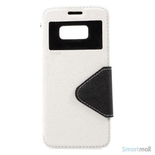 Roar Korea cover med m/kortholder, vindue og stoette til Galaxy S8 – Hvid