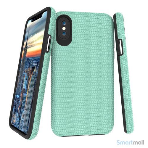 Dobbeltbeskyttende TPU-cover med shock absorbering til iPhone X/10 - Cyan