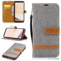 To-farvet cover i jeans stof med pung til Samsung Galaxy S8 – Grå