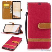 To-farvet cover i jeans stof med pung til Samsung Galaxy S8 – Rød