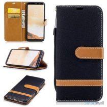 To-farvet cover i jeans stof med pung til Samsung Galaxy S8 – Sort