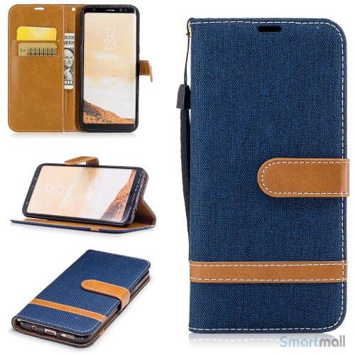 To-farvet cover i jeans stof med pung til Samsung Galaxy S8 - Blå