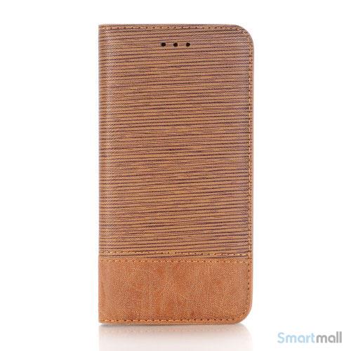 Toothpick Texture flip læderpung med stand til iPhone X / 10 - Brun