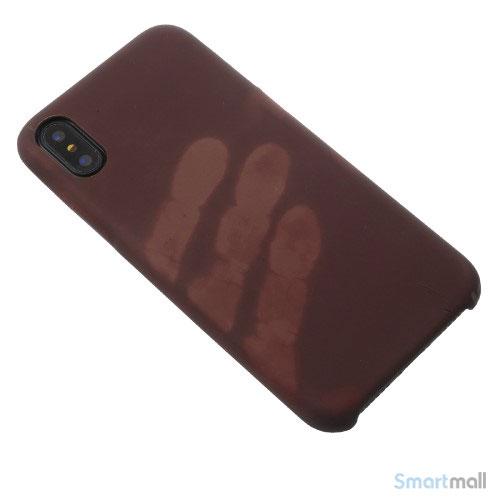 Varme sensitivt & farveskiftende PU-laedercover til iPhone X / 10 - Brun-6