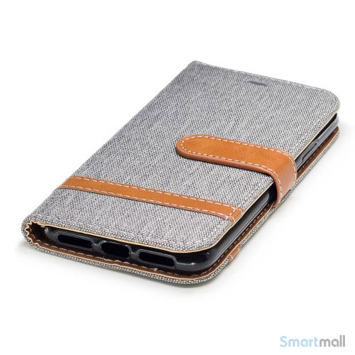 iPhone X/10 Jean Cloth læderpungs cover i lækkert materiale - Grå