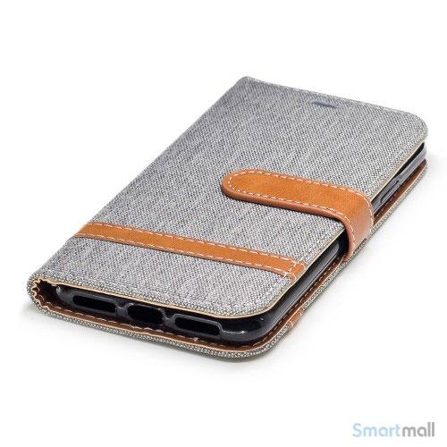 iPhone X/10 Jean Cloth læderpungs cover i lækkert materiale - Grå