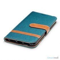 iPhone X/10 Jean Cloth læderpungs cover i lækkert materiale - Grøn