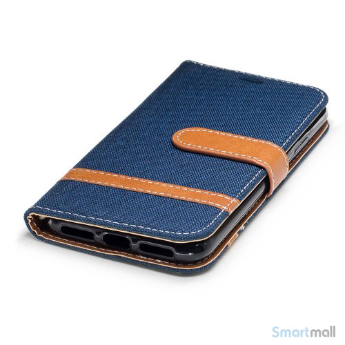 iPhone X/10 Jean Cloth læderpungs cover i lækkert materiale - Mørkeblå