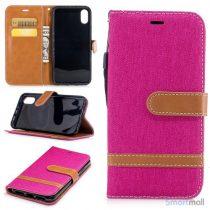 iPhone X/10 Jean Cloth læderpungs cover i lækkert materiale - Pink
