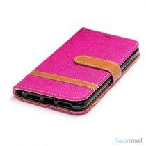 iPhone X/10 Jean Cloth læderpungs cover i lækkert materiale - Rose