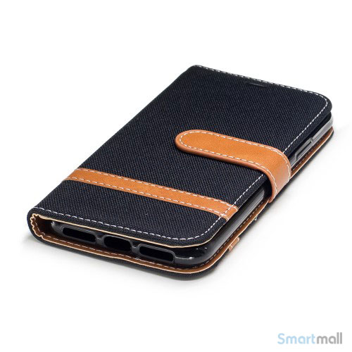 iPhone X/10 Jean Cloth læderpungs cover i lækkert materiale - Sort