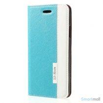 Lækkert to-farvet lædercover m/kortholder & stand til iPhone X/10 - Blå