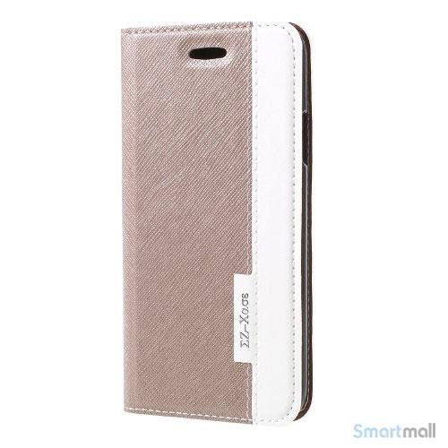 to-farvet lædercover med kortholder & stand til iPhone X / 10 - Champagne farve