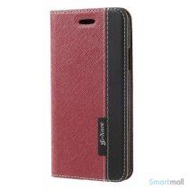 Lækkert to-farvet lædercover m/kortholder & stand til iPhone X/10 - Rød