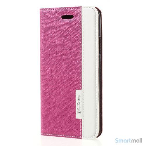 to-farvet lædercover m/kortholder & stand til iPhone X/10 - Rose