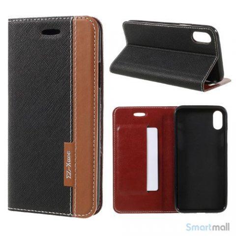 to-farvet lædercover m/kortholder & stand til iPhone X/10 - Sort
